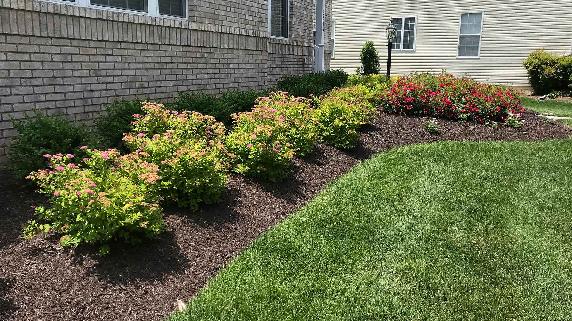 Landscape bed installation with plantings in Warrenton, VA.